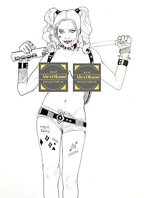 Artprint, Nudeart Drawing, Harley Quinn, Suicide Squad, signiert, signed
