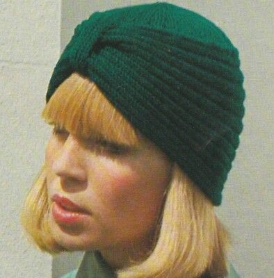 Knitting Pattern For Womens Fashionable Turban Hat Vintage 4 Ply
