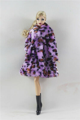 2in1 Fashion Gorgeous Outfit Purple Fur Coat Clothes+Boots  FOR 11.5in.Doll
