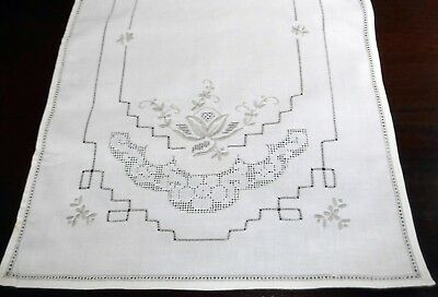Taupe Embroidered Table Runner Dresser Scarf Cream Cotton 41x14""