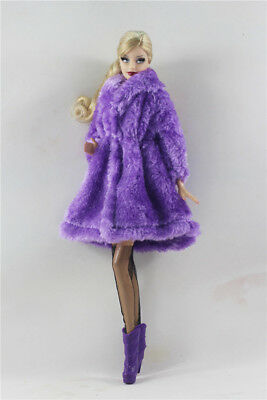 3in1 Fashion  Outfit clothes Purple Fur Coat +Boot+Stockings  FOR 11.5in.Doll