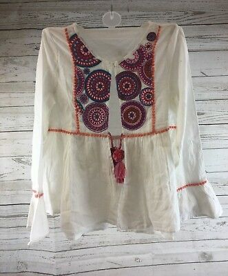 NEXT for girls White Tunic Embroidered with Tassel size 5yrs-13 RRP 19.00-£20.00