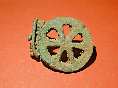 "Beautiful Roman ""Openwork"" Bronze Fibula (ca.1st-3rd Cent.) 'as found' condition"