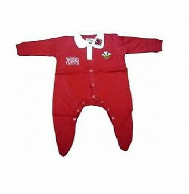 Magic Wales Welsh Cymru Rugby Red Baby Grow Sleepsuit All In One Welsh Feathers