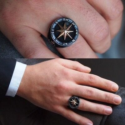 Handcraft Turkish 925 Sterling Silver Jewelry Compass Men's Ring