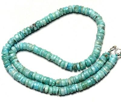 """Natural Rare Gem Larimar 6MM Approx. Smooth Heishi Rondelle Beads 17"""" Necklace"""