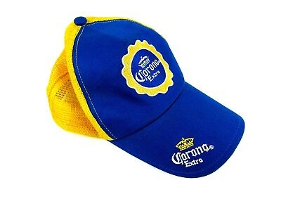 362269f5c72 Corona Extra Beer Mens Snapback Hat Yellow and Blue Adjustable Trucker  Style Cap