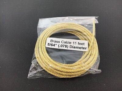 """Brass Cable for Tall Case and Large Clock 5/64"""" .078 Diameter  x 11' in Length"""