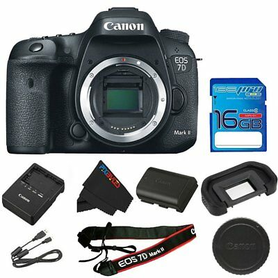 Canon EOS 7D Mark II 20.2MP Digital SLR Camera - Black (Body Only) + 16 GB Card