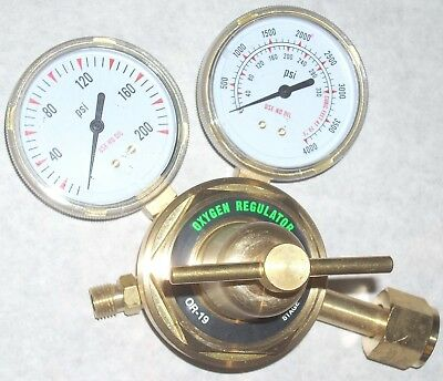 "Oxygen Regulator for Cutting Welding Gas OR-19 Heavy Duty 2 1/2"" Gauges"