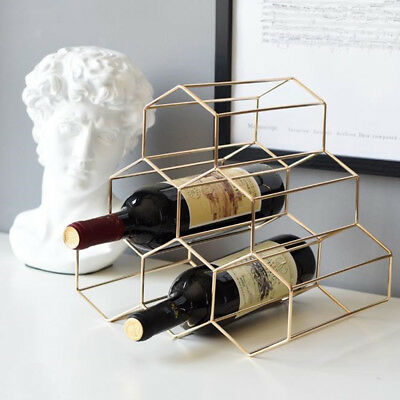 Wine Bottle Rack Freestanding Holder Triangle Iron Storage Shelf French Gold
