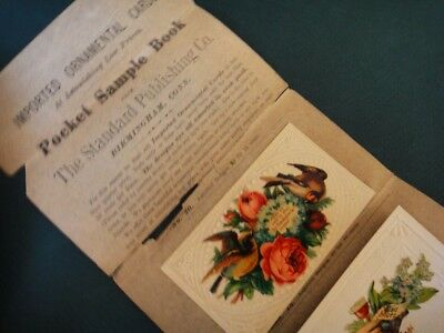 1880 antique VICTORIAN DIE CUT TRADE CARD SAMPLE SALES pocket ornamental catalog