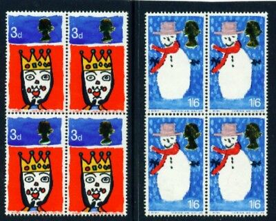 1966 Christmas Set Of 2 Sg713/714 In Blocks Of 4 Unmounted Mint