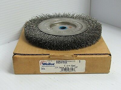 "New Weiler Steel Crimped Wire Brush Wheel 03597002 6""Dia .014""Wire 1-2-5/8"""