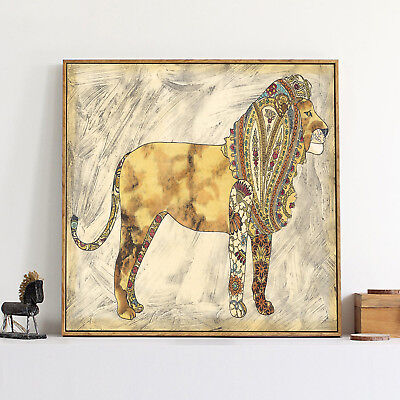 Abstract Lion Art Oil Paint Silk Canvas Vintage Poster Wall