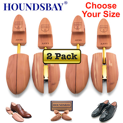 HOUNDSBAY Mens Cedar Shoe Tree with Wide Heel and Adjustable Split Toe - 2 Pairs