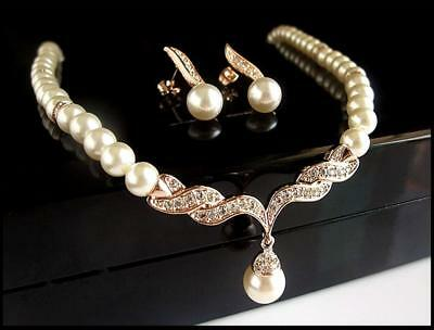 Jewelry Set Rose Gold Pearl Rhinestone Crystal Diamante Wedding Necklace Earring