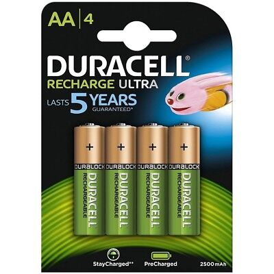 Duracell AA 2500 mAh Ultra Rechargeable Batteries HR6 - 2 4 8 12 16 20 24 40