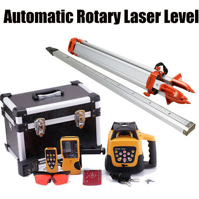 500M Range Self-leveling Rotary RED Laser Level Kit With Case + Tripod Staff