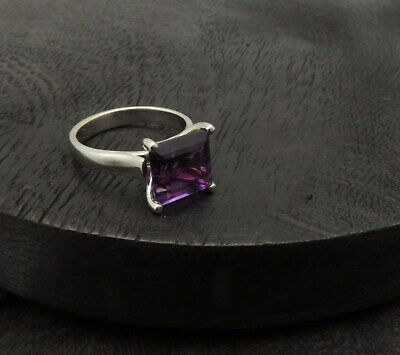 14K White Gold Amethyst Ring Large 3.30Ct Square Genuine Gemstone Solid Gold New
