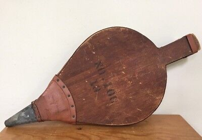 Vintage Antique Large Wood Leather Fireplace Stove Smoke Bellows Fire Stoker