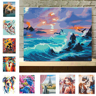 DIY Oil Painting By Numbers Kits Acrylic Painting with Canvas Brush Paints