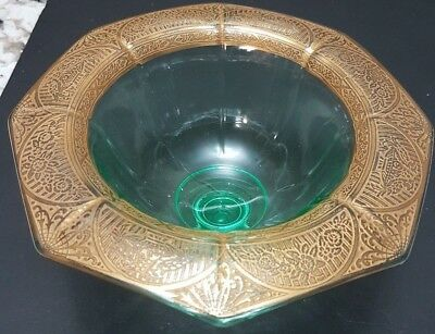 Vintage Green Depression Glass Compote With Gold Filigree Floral Rim