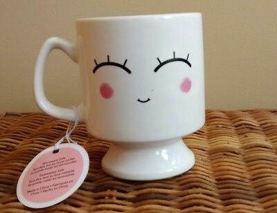 Face the Day Coffee Mug Cup in White Lady's Face Smile