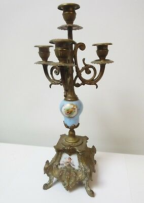 Antique French Candelabra Painted Porcelain Lute Cherub