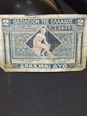 Grèce Greece 2 Drachmai 1917 Circulated: Has folding on edges and top, intact