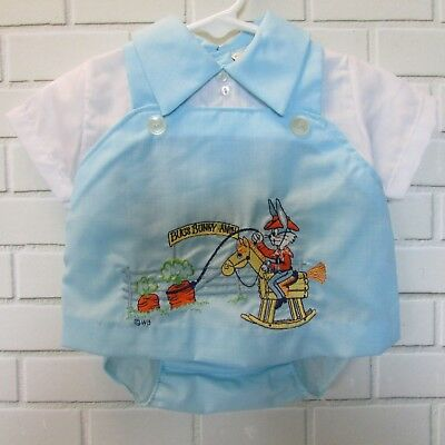 Vintage Baby Boy Outfit Blue Shirt Plastic Pants Bugs Bunny Size 12M Warner Bros