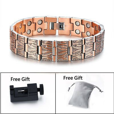 Retro Design Men Health Copper Magnetic Therapy Bracelet Arthritic Pain Relief