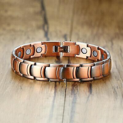 Men Healthy Copper Magnetic Therapy Bracelet Grid Chain Arthritic Pain Relief
