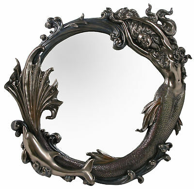 Veronese Bronze Figurine Art Nouveau Mermaid Wall Mirror Large Home Decor new