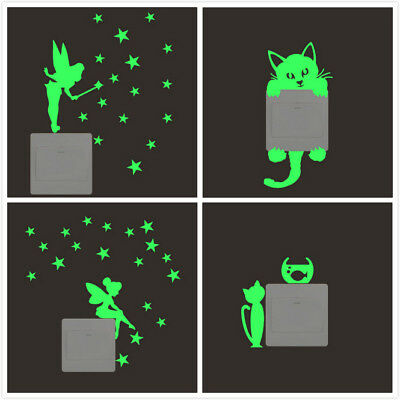 Glow in the Dark Star Wall Switch Stickers Cat Fairy Luminous Kids Room Decor