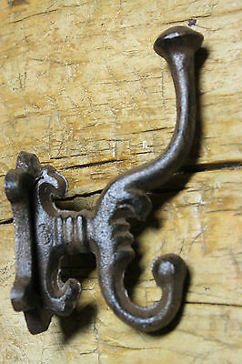 2 Cast Iron HEAVY DUTY Style Coat Hooks Hat Hook Rack Hall Tree Restoration