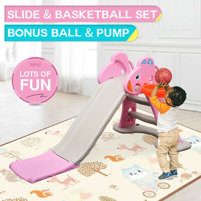 New Kids Foldable Indoor Outdoor Play Activity Toy Slide Basketball Pink Grey