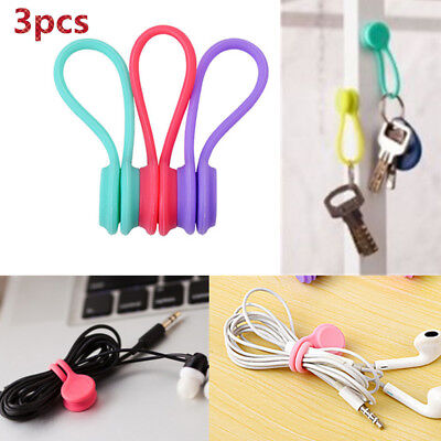 3 Pcs Magnetic Tie Cable Organiser Headphone Earphone Cord Winder Holder Clip aj