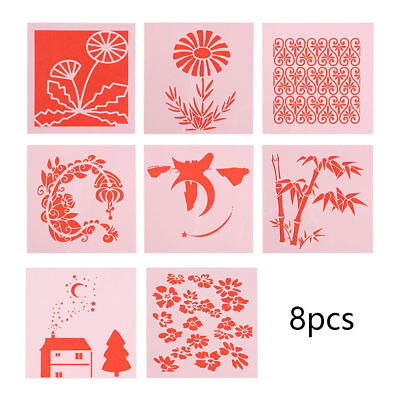 8Pcs/set Hollow Layering Stencils Spraying Decoration Mold For Wall Painting New