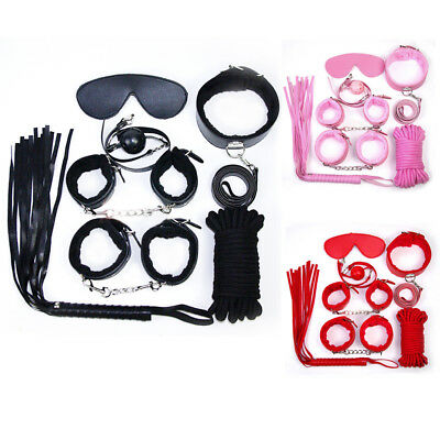 Adult-Sex-SM-Toys-Handcuffs-Cuffs-Strap-Whip-Rope-Neck-Bandage-Sexy-SMs-7pcs/set