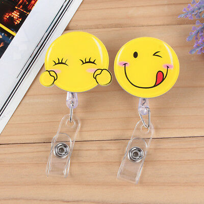Emoji Face Retractable Badge Reel Exhibition Pull Key ID Name Card Badge Hot