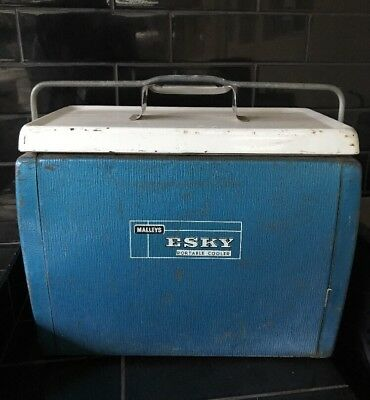Malleys Vintage Retro Metallic Blue 1950's Esky Portable Ice Picnic Cooler