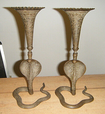 """PERSIAN ANTIQUE PAIR 10.5""""Lg HAND ENGRAVED BRASS KING COBRA SNAKE CANDLE HOLDERS"""