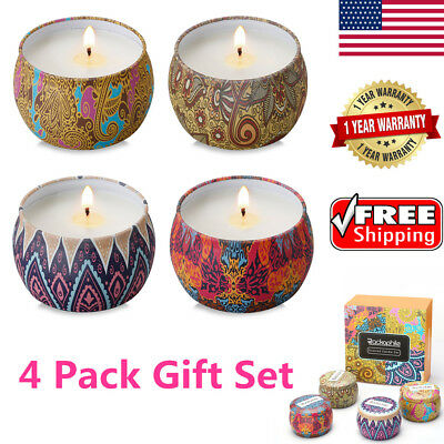 4 Pack Scented Candles Gift Set Lead-Free Lavender Rose Lemon Fig Aromatherapy
