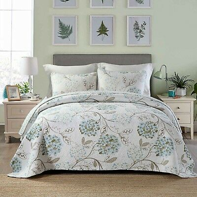 100% Cotton Reversible  Quilted Bedspread/Coverlet Queen Size  3pcs Set 1568