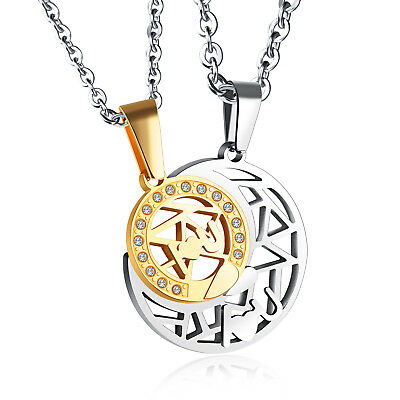 Stainless Steel CZ Puzzle Couple Pendant Lovers Jewelry Sun And Moon Necklaces