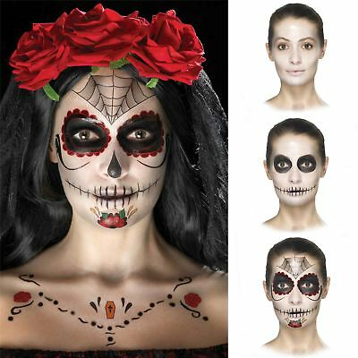 Day of the Dead Face Tattoo Transfer Kit Ladies Halloween Fancy Dress Make Up