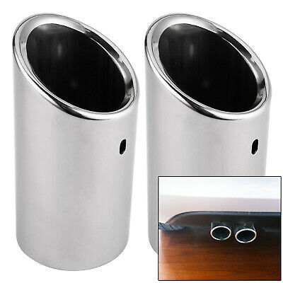 2x Car Exhaust Pipe Tip Chrome Stainless Steel TRIM For Audi A4 B8 TAILPIPE