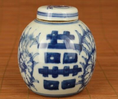 Chinese Old Blue And White Porcelain Hand Painting 囍 Statue pot  Jar