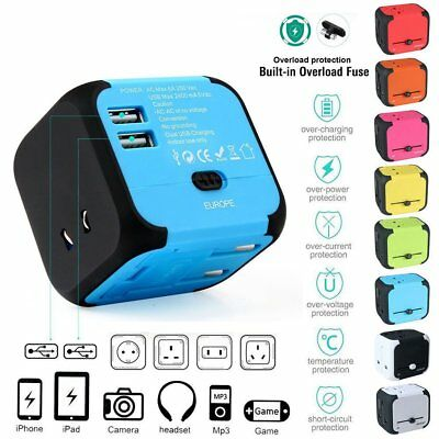 2 USB Plug Charger Universal World Travel Adapter Power UK US EU AU Europe Asia